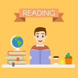 Illustration av den unga stiliga mannen som läser en bok Arkivfoto