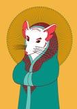 Illustration av den vita musen med den rosa färgöron och näsan i en bea royaltyfria bilder