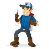 Illustration av desinfektören med hans hjälpmedel Arkivbild