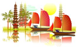 Illustration av det asiatiska landskapet för fantasi Royaltyfri Foto