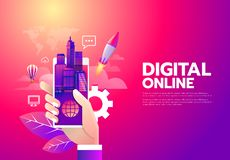 Illustration av det digitala online-shoppingbegreppet för värld på mobiltelefonen stock illustrationer