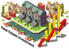 Illustration av det grafiska fastighetsinvesteringbegreppet för information Royaltyfria Foton