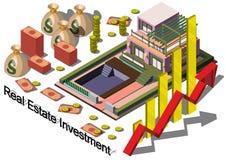 Illustration av det grafiska fastighetsinvesteringbegreppet för information Arkivfoto