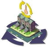 Illustration av det grafiska fastighetsmäklarebegreppet för information Arkivbild