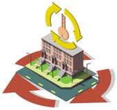 Illustration av det grafiska fastighetsmäklarebegreppet för information Royaltyfri Bild