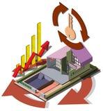 Illustration av det grafiska fastighetsmäklarebegreppet för information Arkivfoto