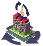 Illustration av det grafiska fastighetsmäklarebegreppet för information Arkivfoton
