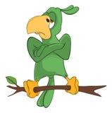 Illustration av det gröna papegojatecknad filmteckenet Arkivfoto