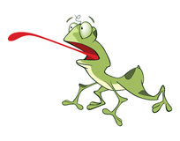 Illustration av det gulliga tecknad filmteckenet för grön groda Arkivbild