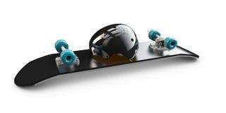 Illustration av det isolerade däcket för hjälm för skateboardwhitskridsko vektor illustrationer