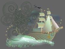 Illustration av det keltiska skeppet för älvornas rikefantasi Arkivbild