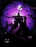 Illustration av det läskiga violetta halloween temat arkivfoto