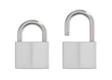 Illustration av det låsta och låsta upp metalllåset Fotografering för Bildbyråer