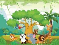 Illustration av det lyckliga djuret i djungeln vektor illustrationer