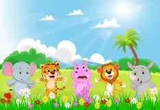 Illustration av det lyckliga lösa djuret i en härlig trädgård royaltyfri illustrationer
