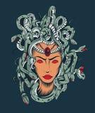Illustration av det MedusaGorgon huvudet Royaltyfri Fotografi
