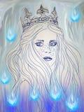 Illustration av drottningen som omges av berlock stock illustrationer