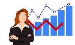 Illustration av en affärskvinna med några grafer som visar henne ekonomisk framgång Royaltyfria Bilder