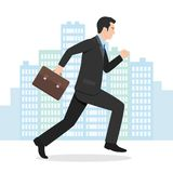 Illustration av en affärsman Running med hans portfölj Royaltyfri Fotografi