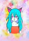 Illustration av en animeflicka med blått hår, stora rosa ögon, med kattöron på en ljus färgrik bakgrund vektor illustrationer