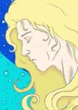 Illustration av en animegrabb med härligt blont hår mot in bubles för ett vatten vektor illustrationer