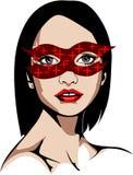 Illustration av en blåögd kvinna i skinande röd maskering Royaltyfri Foto