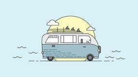 Illustration av en buss med molnet och solen Vektor av en buss royaltyfri illustrationer