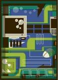 Illustration av en dator och en mus Stock Illustrationer