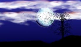 Illustration av en enkel trädkontur under strålarna av en fullmåne och moln En stark vind som bryter filialer vektor illustrationer