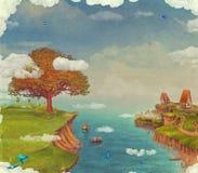 Illustration av en fantastisk skog för saga, hus, en sjö, en himmel och ett stort träd i himmel royaltyfri illustrationer