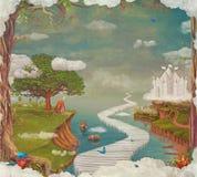 Illustration av en fantastisk skog för saga, en slott, en bro, en sjö, en himmel och ett stort träd i himmel stock illustrationer