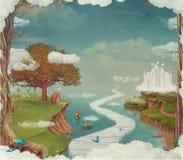 Illustration av en fantastisk skog för saga, slott, bro, sjö i himmel vektor illustrationer