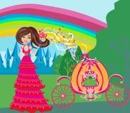 Illustration av en fe och en pumpavagn stock illustrationer
