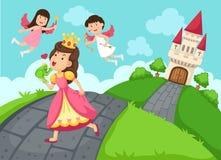 Illustration av en felikt slott och landskap för drottning vektor illustrationer