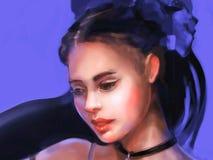 Illustration av en flicka från högt samhälle royaltyfri illustrationer