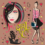 Illustration av en flicka & framsidaflickan Royaltyfri Fotografi