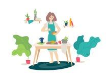 Illustration av en flicka i ett förkläde som lagar mat i köket vektor Plan tecknad filmstil Kvinna på matlagning Hemlagad sund ma vektor illustrationer