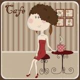 Illustration av en flicka i ett kafé. Tappningstil. Royaltyfri Fotografi