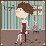 Illustration av en flicka i ett kafé. Tappningstil. Arkivfoton