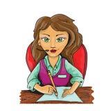 Illustration av en flicka i kontoret Arkivfoton