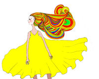 Illustration av en flicka med dramatiskt hår vektor illustrationer