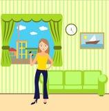 Flicka med en ringa i ett rum Vektor Illustrationer