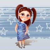 Illustration av en flicka med svansar i en klänning stock illustrationer