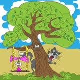 Illustration av en flicka och en katt under träd Arkivfoto