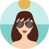 Flicka som ha på sig solglasögon Vektor Illustrationer