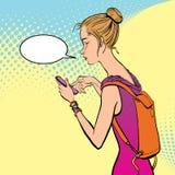 Illustration av en flicka som rymmer en mobiltelefon Arkivbilder
