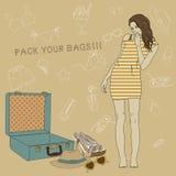 Illustration av en flicka som samlar en resväska. Al Royaltyfri Foto
