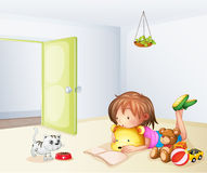 En flickainsida ett rum med en katt och toys royaltyfri illustrationer
