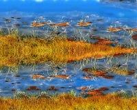 Illustration av en flodbank, en ovanlig sikt av vatten, gräs på vatten stock illustrationer