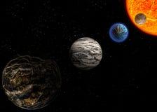 Illustration av en främmande planetst Arkivbild
